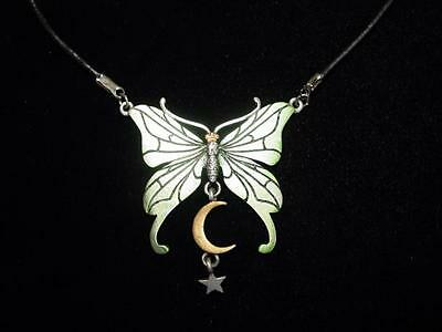 """JJ"" Jonette Jewelry Multi-Colored MOTH Moon Star Pendant 15"" Pewter Necklace"
