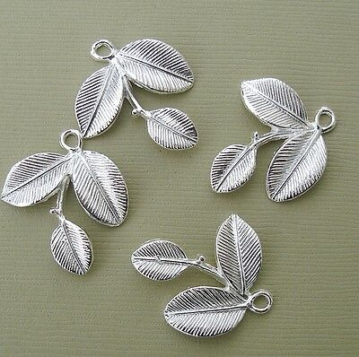 Branch Leaf Charm Pendant Connector Sterling Silver Plated- 4pcs.