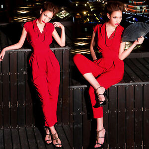 Womens-Cap-Sleeve-Jumpsuits-Rompers-Overalls-Long-Pants-Trousers-Solids-Red-4469