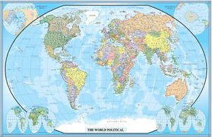Image Is Loading World Wall Map Mural Poster Classic Blue Edition