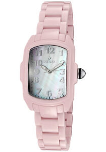 Invicta-Watch-1966-Women-039-s-Baby-Lupah-White-MOP-Dial-Pink-Ceramic