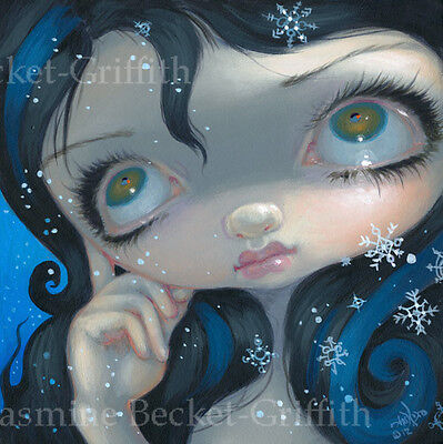 Fairy Face 203 Jasmine Becket-Griffith big eye winter snow goth SIGNED 6x6 PRINT