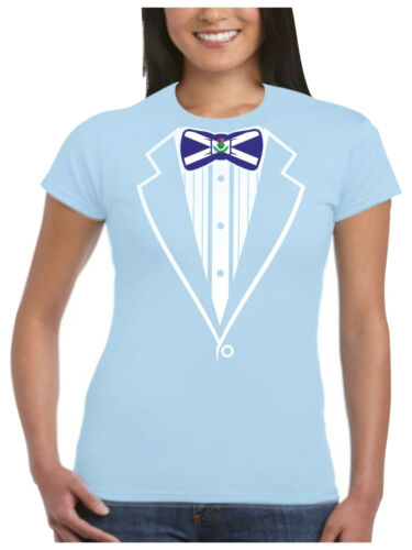 Tuxedo T Shirt Ladies St Andrews Thistle Flower of Scotland Flag Tux Fancy Dress