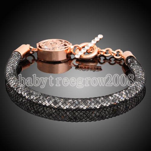 18K Rose Gold Plated Swarovski Cystal in Black Net Flower Bracelet 203