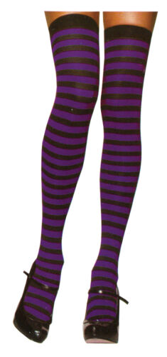 STRIPED THIGH HIGH COSTUME STOCKINGS WOMAN BLACK RED WHITE PINK GREEN PURPLE
