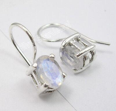 .925 Pure Silver RAINBOW MOONSTONE LITTLE Dangle Earrings 1.7 CM JEWELRY STORE