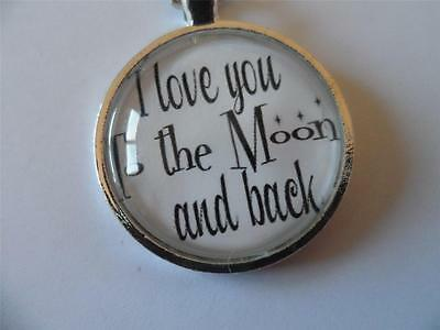 25mm I Love You To The Moon Quote Pendant Cameo Cabochon Silver Plated Necklace