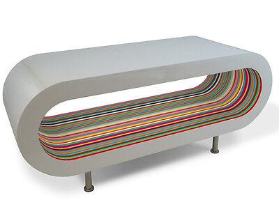 Retro Designer Coffee Table Multi Colour Stripe High Gloss Modern Wood Oval