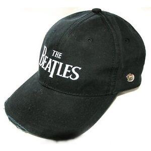 The-Beatles-Drop-T-Black-Distressed-Baseball-Cap-Hat-Shining-Silver-Apple-Logo