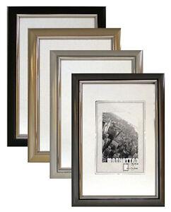 Bilderrahmen-Manhatten-10x15-13x18-15x20-20x30-30x40-40x50-silber-schwarz