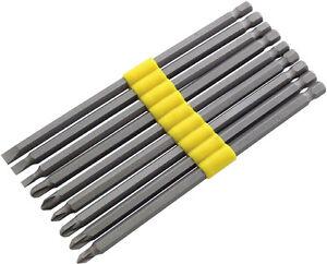 9 x extra long reach screwdriver bit set 1 4 dr hex 150mm pozi philips flat ebay. Black Bedroom Furniture Sets. Home Design Ideas