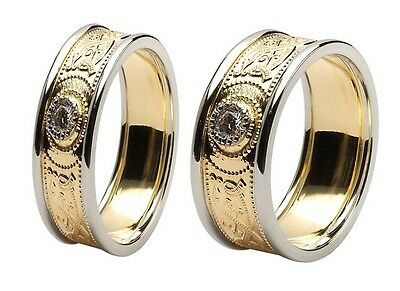 14k Gold Irish handcrafted Celtic Warrior Wedding Ring Set with Diamond inset
