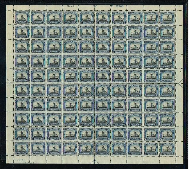 #621 1925 5c NORSE AMERICAN ISSUE SUPERB SHEET OF 100-MINT-OG/NH (CAT. $3750.00)
