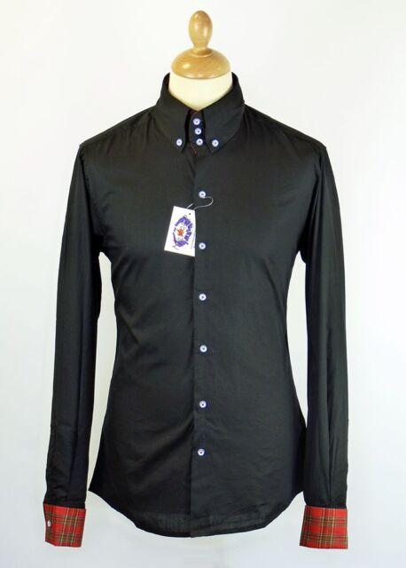 NEW MENS 60s RETRO MOD BIG COLLAR Button Down long Sleeve BLACK SHIRT MC128