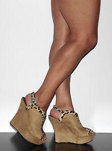 Womens-5-034-Wedge-Heel-Platform-Tan-Suede-Slingback-Bootie-Zuka-Dalia-Size-6-10