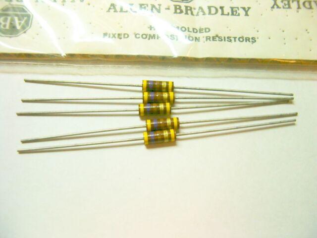 5 Allen Bradley Carbon Comp Resistor RCR 470 ohm 1/2W 5%