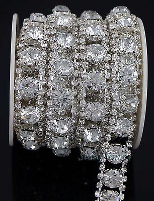 1 Yard Clear Crystal Rhinestone Crystal Chain Bridal Dress Costume Trim