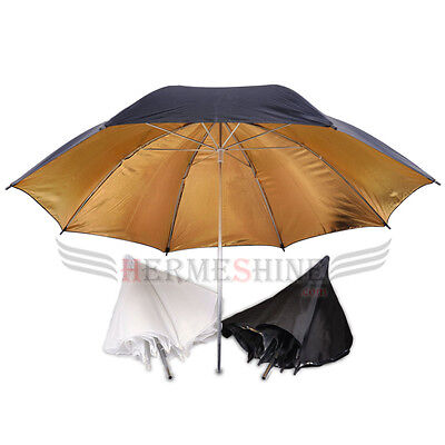 3umbrellas kit-85cm Black Silver & black golden reflective and white translucent
