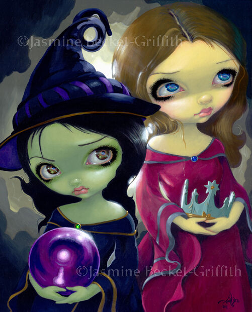 Jasmine Becket-Griffith art print SIGNED Wicked Witch and Glinda wizard of oz