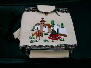 HANDMADE-FROM-PERU-WOOLEN-BOOK-BAG-BEAUTIFUL-SEWN-SCENE-16-034-BY-15-034-NICE