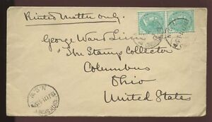 AUSTRALIA-NSW-QV-1911-COVER-to-PHILATELIC-STAMP-PUBLISHER-LINN-in-USA-2-x-1-2d