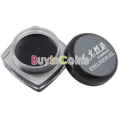 New Portable Home Use Black Waterproof Eye Liner Gel Makeup + 1pcs Brush