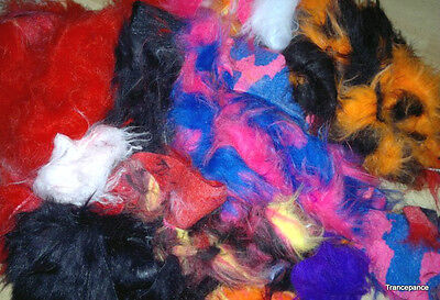 Long Pile Faux Fur Fabric Assorted white black pink Offcuts approx 800grams neon