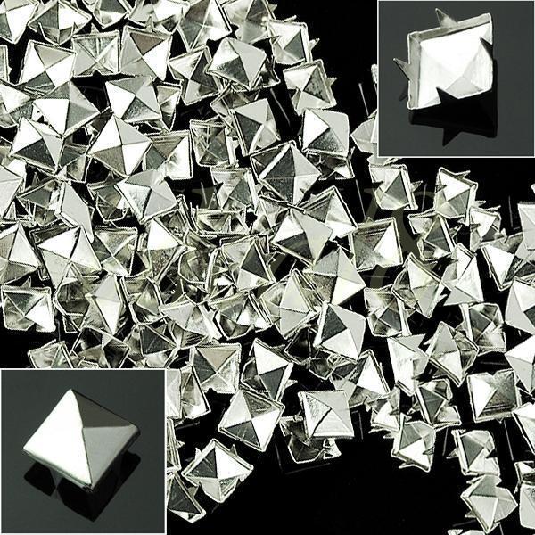 100pcs 10mm Prong Metal Square Pyramid Punk Spike Studs Spots DIY Leathercraft