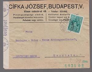 1941 censored Hungary airmail Cover to Mannheim Germany Enzinger Union Werk