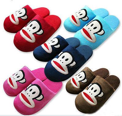 Brand New Home Men Women Paul Frank Plush Slippers Dark Blue Size 5-11
