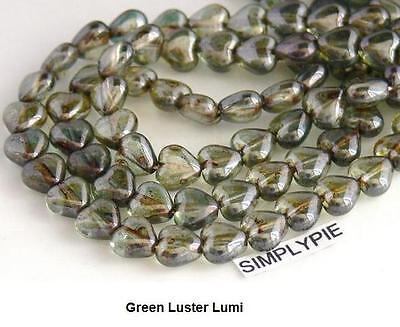 6mm Heart Czech Glass Beads 25 Choose Color