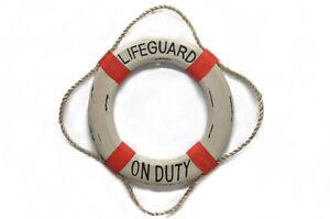 Wood-Life-Ring-Wall-Decor-034-Lifeguard-on-Duty-12-034-Nautical-Home-Decor-Lake