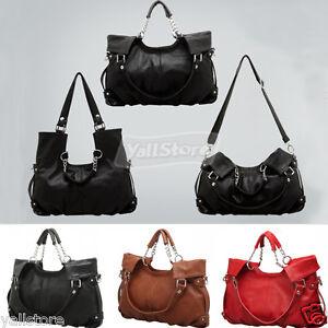 Women-Ladies-Handbag-Messenger-Tote-Bag-Shoulderbag-PU-Leather-3-Colors-US