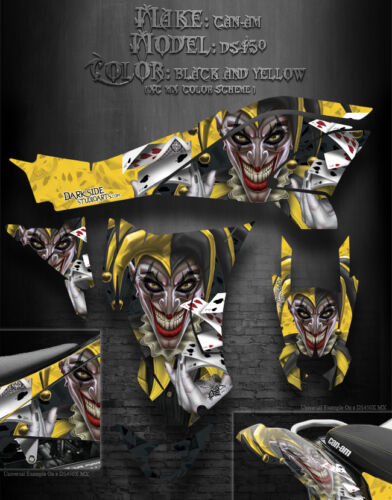"""CAN-AM DS450 GRAPHICS DECALS /""""THE JESTERS GRIN/"""" YELLOW AND BLACK XC MX COLORS"""