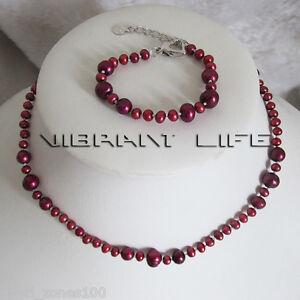 14/6 3-7mm Dark Red Freshwater Pearl Child Necklace Bracelet Set AC
