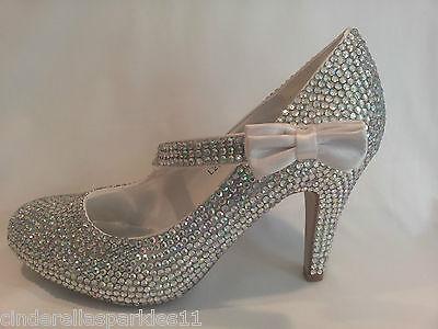 Rhinestone Crystal Diamante Mary Jane Court Shoes - Wedding Bridal Prom Heels