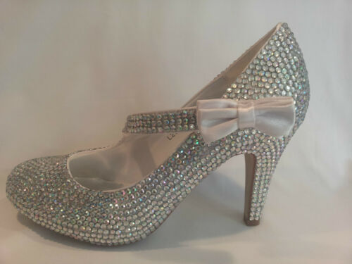 Rhinestone Crystal Diamante Mary Jane Court Shoes - Wedding Bridal Prom Heels