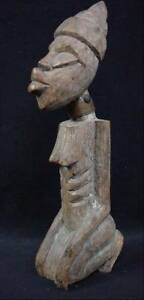 Signed G Damas African Carving Figural Statue Black Woman Tribal Old Paint