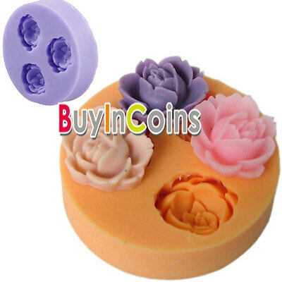 Cookie Chocolate Soap Mold Cutter Modelling 3D Rose Flowers Fondant Cake