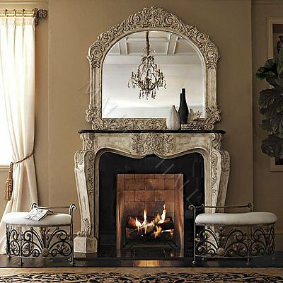 French Parchment Fireplace Surround Black Fossil Top Detailed Carvings