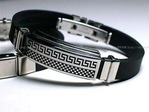 Mens-Stainless-Steel-Bracelet-free-shipping-Greek-Key-Bracelet-Engrave-SR012