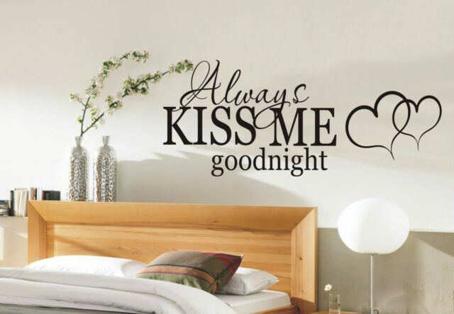 Always Kiss me Goodnight wall sticker quote - bedroom wall stickers 002 - decal