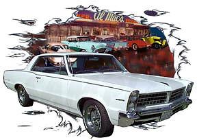 1965-White-Pontiac-Tempest-LeMans-Custom-Hot-Rod-Diner-T-Shirt-65-Muscle-Cars-T