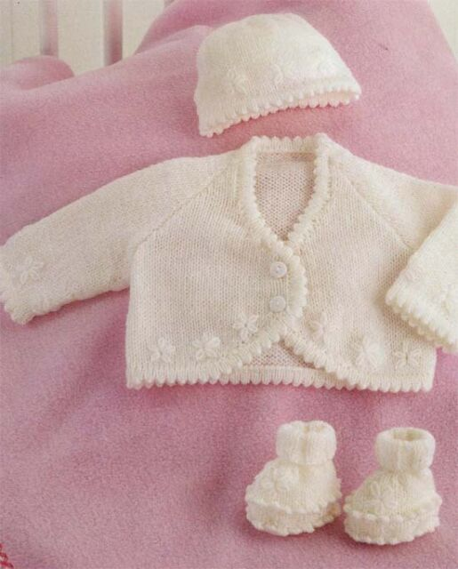 Baby Girls- daisy bolero cardigan, hat and shoes Knitting pattern