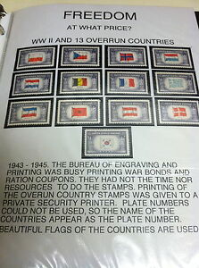WWII 13 DIFFERENT STAMPS -OCCUPIED NATONS SERIES 1943-45