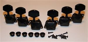 Guitar Parts Economy COVERED Style - 3x3 - TUNERS SET - BLACK