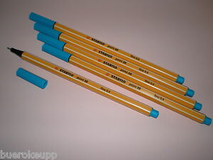 5-PCs-Stabilo-Point-88-Fineliner-88-51-turquoise-blue-Felt-tip-pen-Felt-Fine