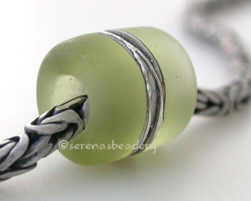 MOJITO GREEN APPLE LAVENDER FINE SILVER EUROPEAN CHARM lampwork glass bead