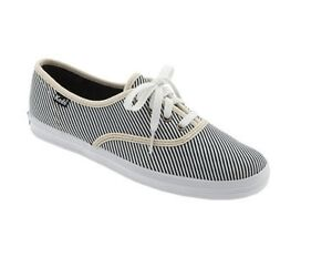 Navy And White Striped Canvas Shoes