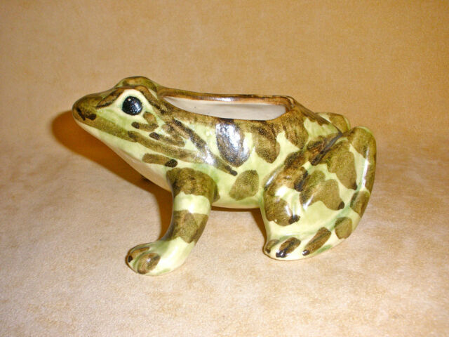1930's Brush Poterry Handpainted Frog Planter